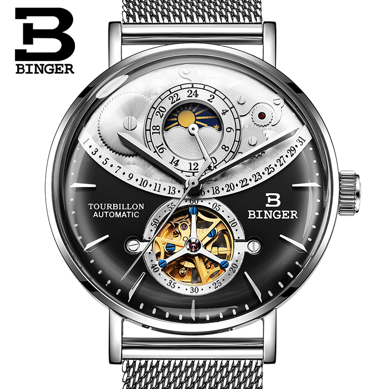 Switzerland BINGER Watch Men Automatic Mechanical Men Watches Top Brand Luxury Sapphire Curved surface Relogio Masculino 2018 jam tangan pria gold original