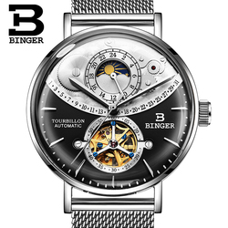 Switzerland BINGER Watch Men Automatic Mechanical Men Watches Top Brand Luxury Sapphire Curved surface Relogio Masculino 2018