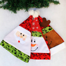 Novelty Unisex Adult Xmas Red Caps Christmas Hats for Christmas Party 3 Patterns Santa Claus Snowman Elk Deer Available