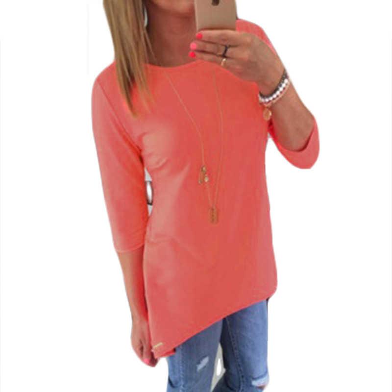 Eropa Rajutan Kaos Hot 2020 Musim Gugur Fashion Solid Leher O Lengan Tiga Perempat WANITA T Shirt Gratis Pengiriman grosir 6446