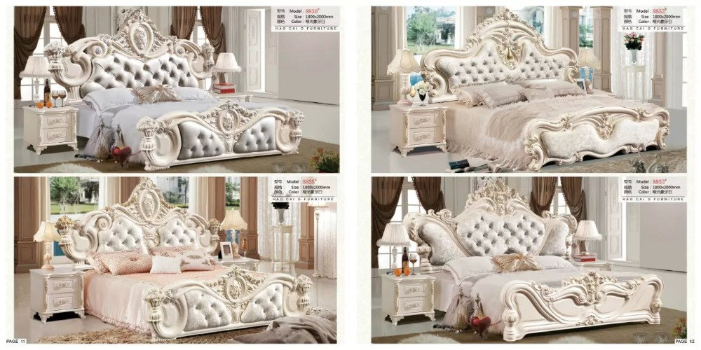 Modern European Solid Wood Bed Fashion Carved Leather French Bedroom Set Furniture King Size Hc006