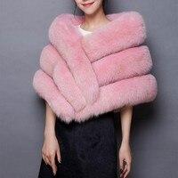 2017 Winter Elegant Pink fox faux fur coat women Warm fashion black synthetic fur cape Vest White thick plush fur