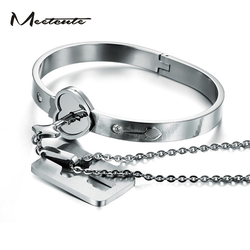 Meetcute Heart Love Lock Bracelet With Key Pendant Necklace Anium Steel Bangle Sets Jewelry Woman Man In From