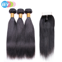 BY Pre-Colored Malayian Non-remy Hair 3 Bundles Human Hair Weave Natural Color Straight Hair With 4×4 Lace Closure Middle Part