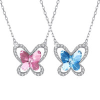 LEKANI Crystals from Swarovski Element Butterfly Jewelry Necklace 925 Sterling Silver Oval Chain for Women