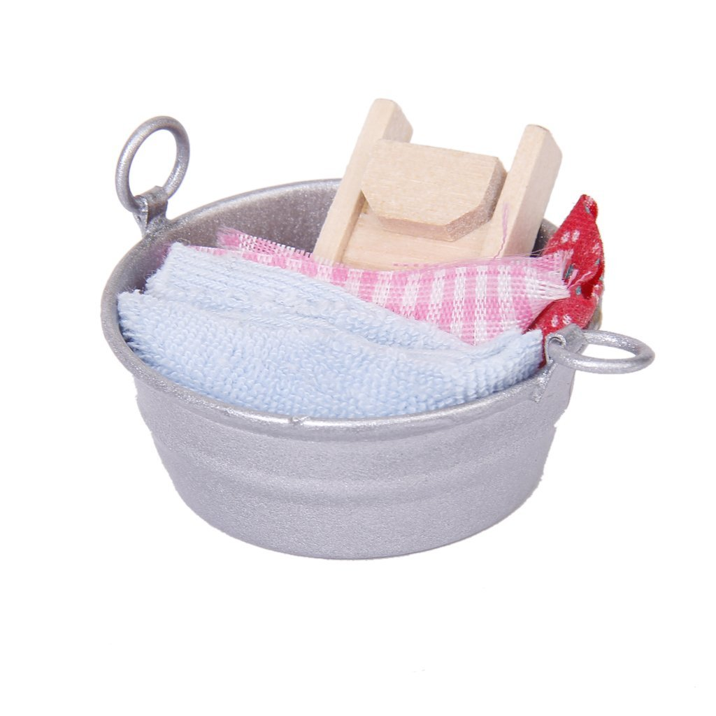 KEOL Dollhouse Miniature Laundry Tub with Wooden Washboard Towel Set