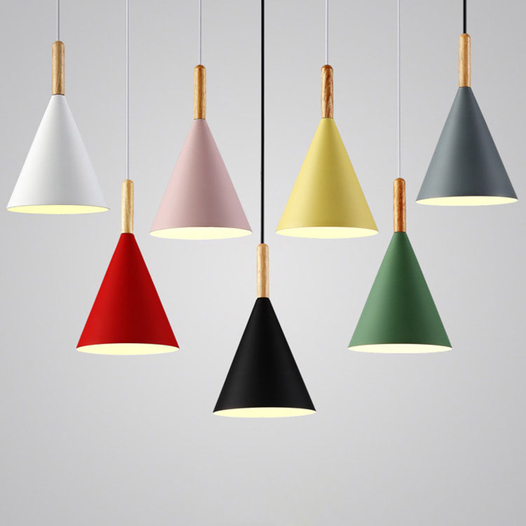 Modern Simple LED E27 Aluminum Makaron Cone Shade with Wood Handle Hang Lamp for Dining Room Decorative 7-Colors Optional