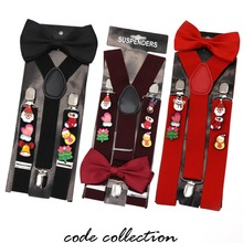 Fashion 3.5cm Wide Random Christmas Acrylic Brooch Decoration Suspenders For women men kids 3 Clip Bow Tie Set Gift