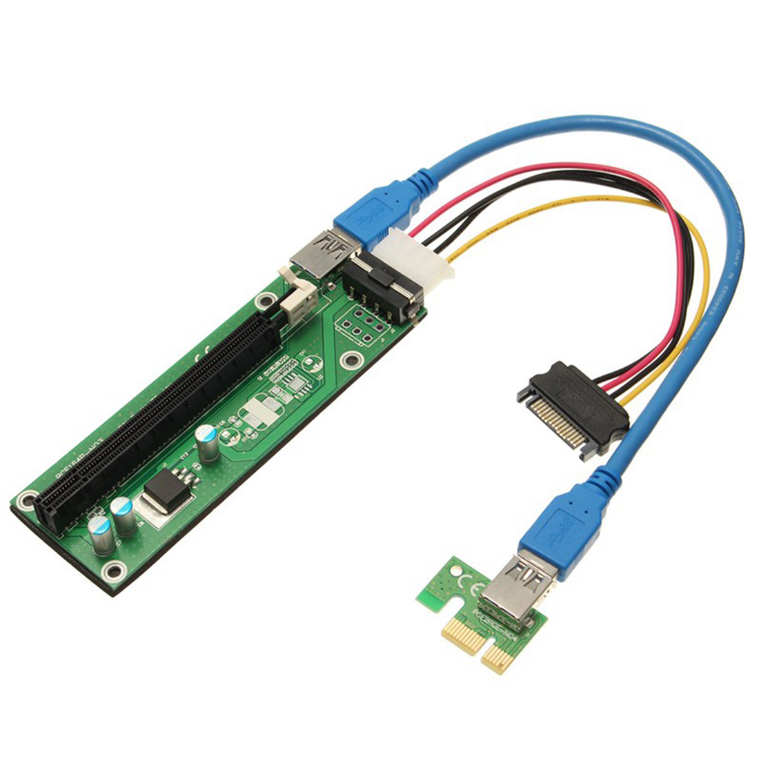 PCI Express PCI-E 1x-16x Extender Riser Card USB 3.0 + SATA 15P Cable Adapter pci