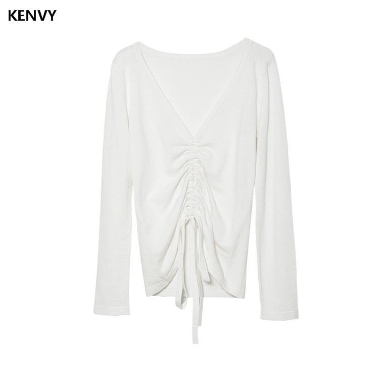 Kenvy shirt High V Long Brand Autumn T end sleeved Drawstring Sexy Straps Fashion White Women Luxury neck Top Tees Slim Knitted gwSrgqU