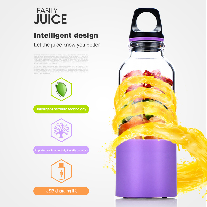 500ML Portable USB Rechargeable Personal Juicer Blender And Portable Electric Juicer Cup 5