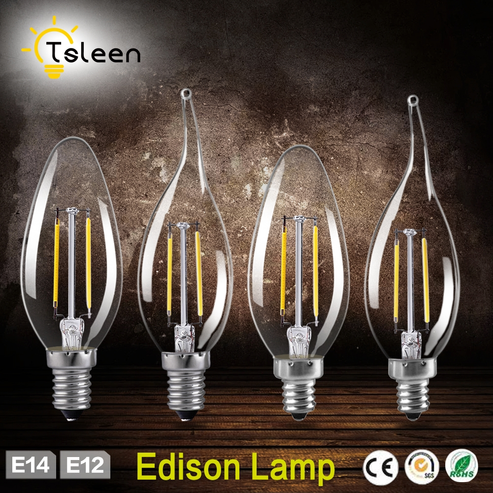 TSLEEN 12Pcs Filament Edison LED Bulb Dimmer Flame Light C35 Lamp Bombillas Led E14 E12 Energy Saving Lamp 220V 110V Chandelier