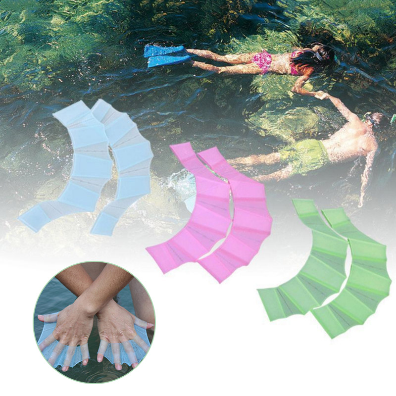 1 Pair Frog Silicone Hand Swimming Fins Handcuffs Flippers Swim Palm Finger MC889