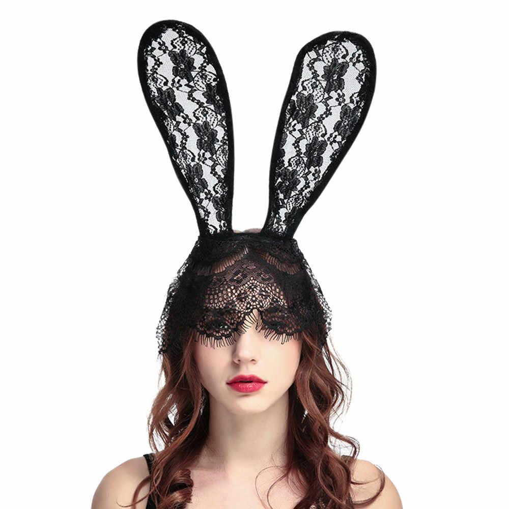 แฟชั่น 1 ชิ้นผู้หญิงสีดำลูกไม้กระต่ายหู Headband ฮาโลวีนคอสเพลย์ผม Hoop อุปกรณ์เสริมผมเครื่องมือ o10 oc6