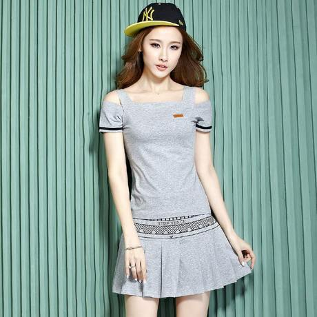 Women Tennis Dress Plus Size Suit Shirt Dress Two Piece Suit Sexy