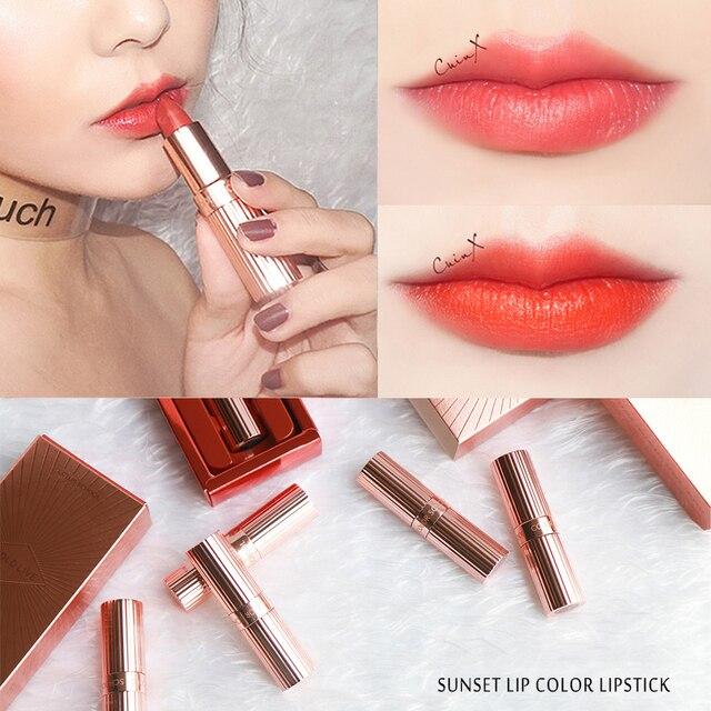 Espera en la puesta de sol de la ciudad de labios mate Matte Lip palo para labios rojo cosméticos de maquillaje coreano marca 6 colores de larga duración Sexy de terciopelo lápices labiales conjunto