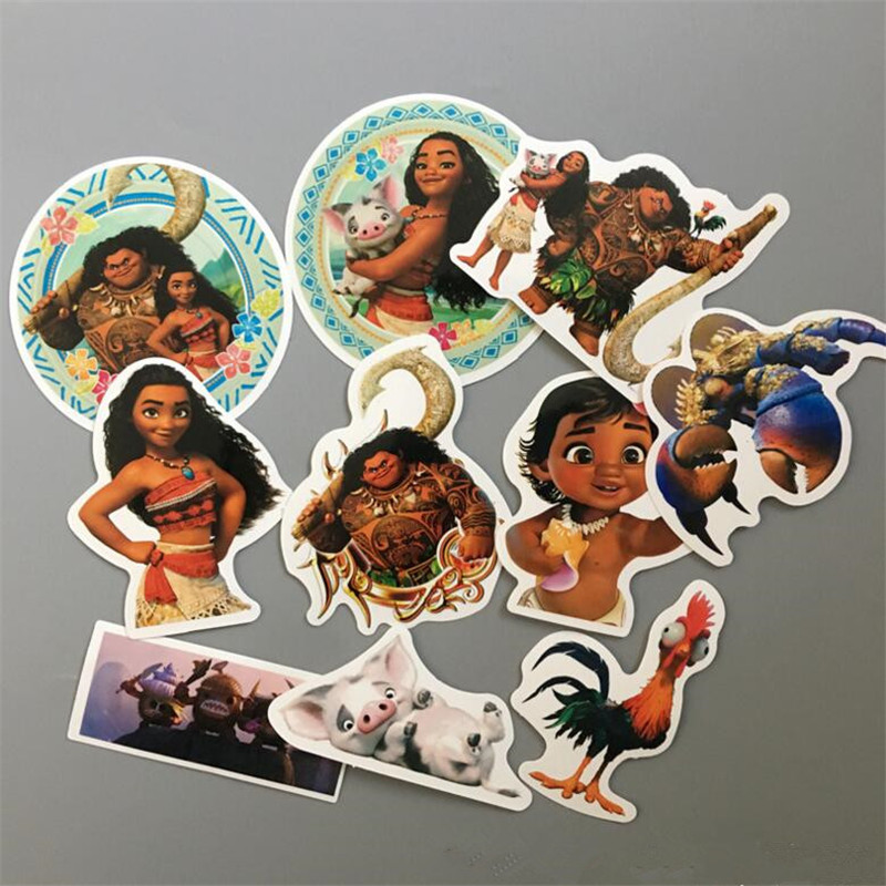 Disney Moana Toy Vaiana  Boneca Funny Sticker 10Pcs/set Decal For Car Laptop Bicycle Motorcycle Notebook Waterproof Wall Sticker