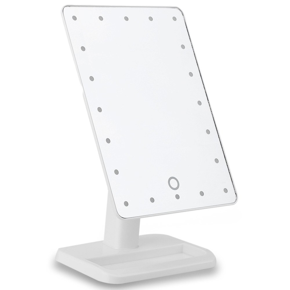 ФОТО 20 Leds Lighted Led Make-up Mirror Luminous 180 Rotating Mirror Adjustable Vanity Tabletop Lamp Touch Screen Mirror Portable1