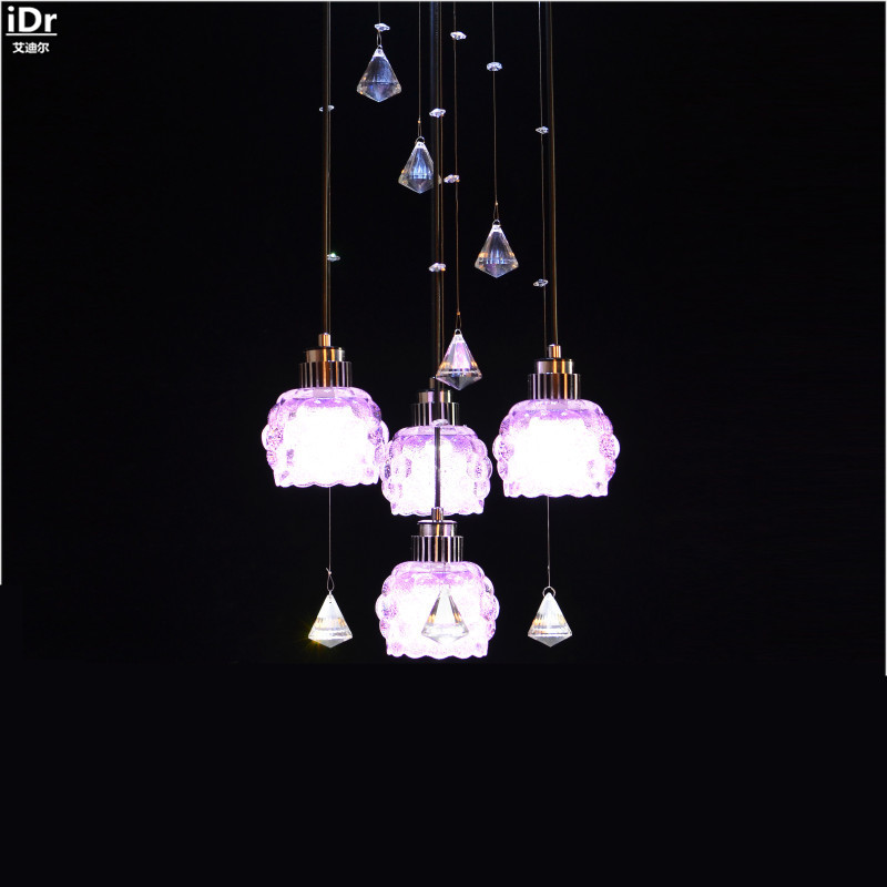 Zx 2016 new crystal led pendant lamp luxury staircase long chandelier modern double stairs - Creative hanging lights ...