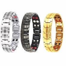 a5e861db904c Negro de los hombres de cuidado de la salud terapia magnético de acero  inoxidable pulseras brazalete