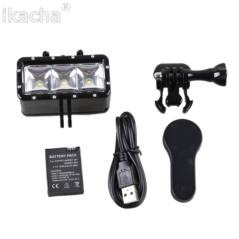 New Camera 30M Underwater Waterproof Dimmable LED Flash Light Gopro 3 Battery For Gopro Hero 5