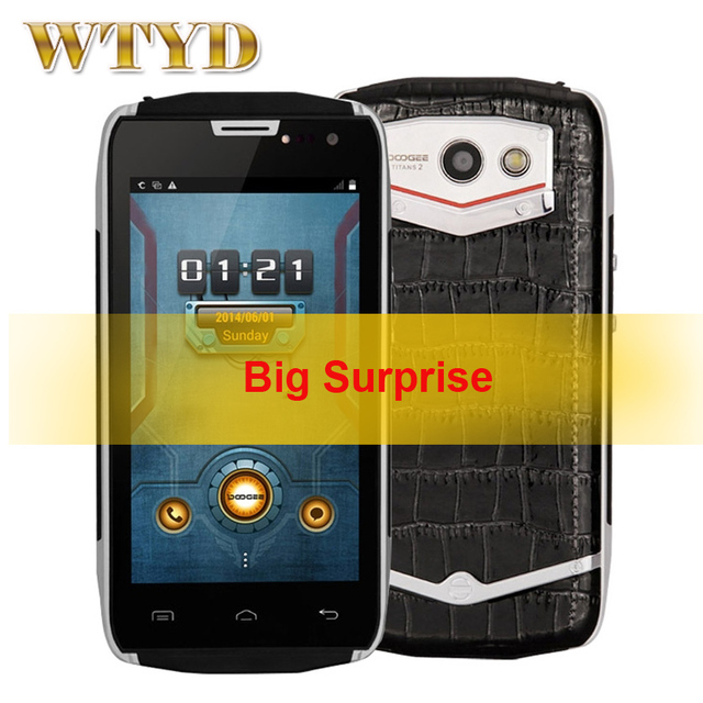 100% original doogee titans2 dg700 4.5 ''android 4.4.2 smartphone mtk6582 quad core 1.3 ghz rom 8 gb + ram 1 gb gsm y wcdma