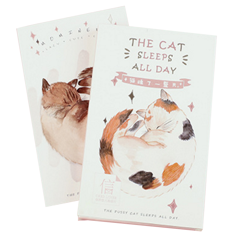 30 Pcs/lot Kawaii The Cat Sleeps All Days Postcard Greeting Card Creative  Birthday Christmas And New Year DIY Gifts Card
