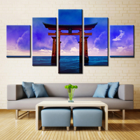 5 Piece Canvas Painting For Living Room Decor Canvas Wall Art Cosmos Art Ocean Purple Cloud