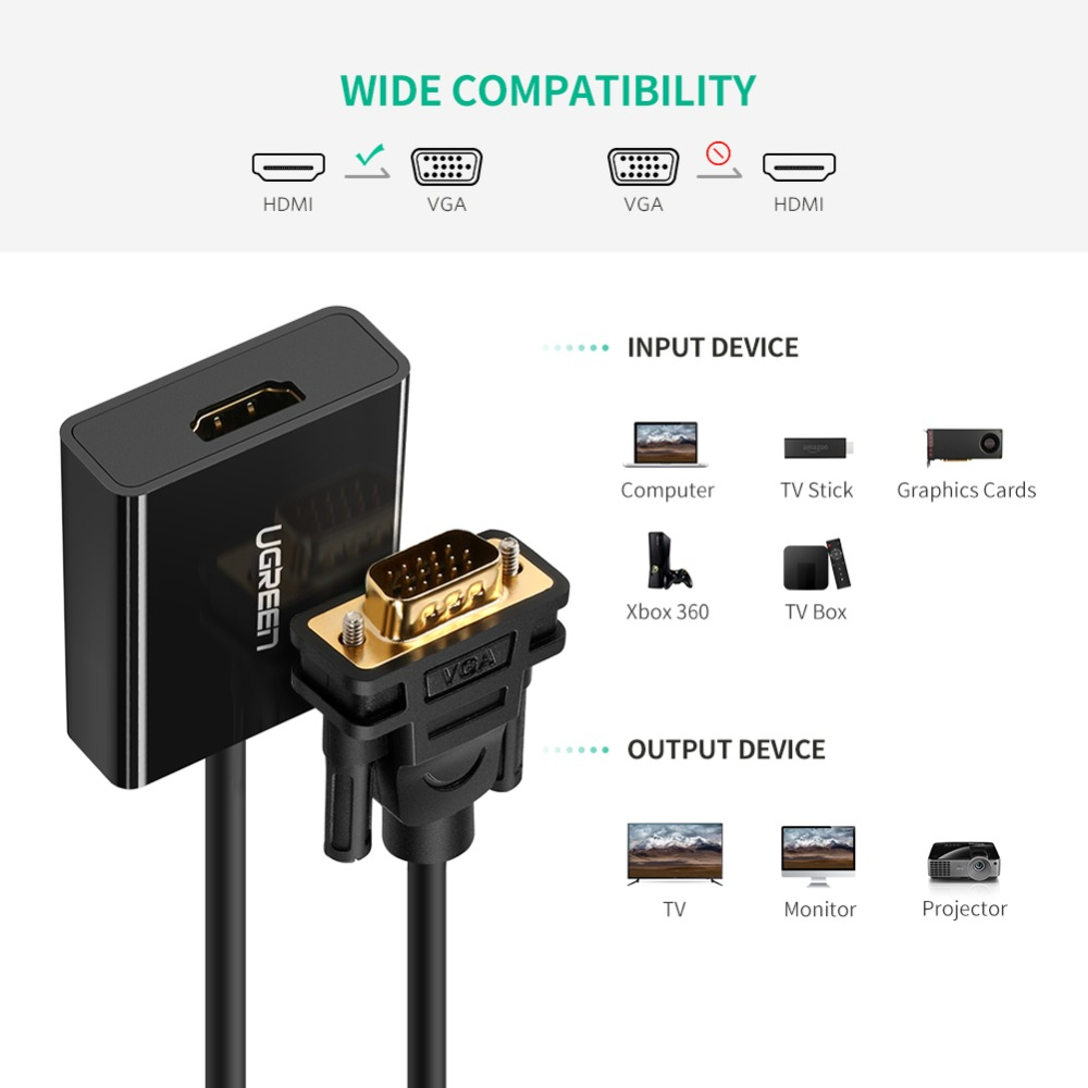 UGREEN Active HDMI to VGA Adapter with 3.5mm AUX Audio Jack HDMI Female to VGA Male Converter for TV Stick PC Projector Laptop