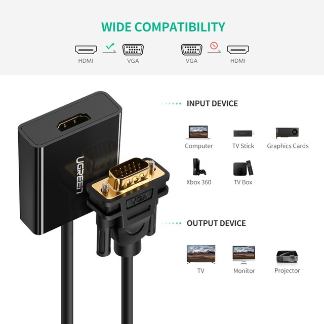 HDMI to VGA Adapter with 3.5mm AUX Audio Jack