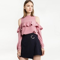Spring New Pink Loose Lantern Sleeves Coat Strapless Chiffon Shirt Free Shipping