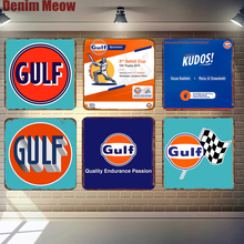Gulf Retro Tin Signs Gasoline Metal Poster Bar Pub Club Garage Decoration Motor Oil Wall Plaque Vintage Home Decor N300