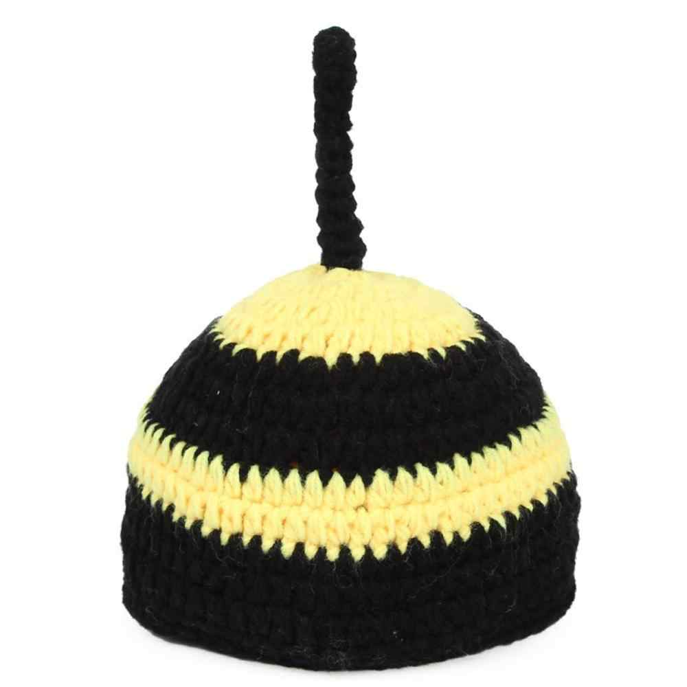 542f1733f8ce2 Newborn Photography Props Baby Bee Clothes Caps Costume Crochet Outfits  Cotton Hat Animals Set for 0-12 Months Baby