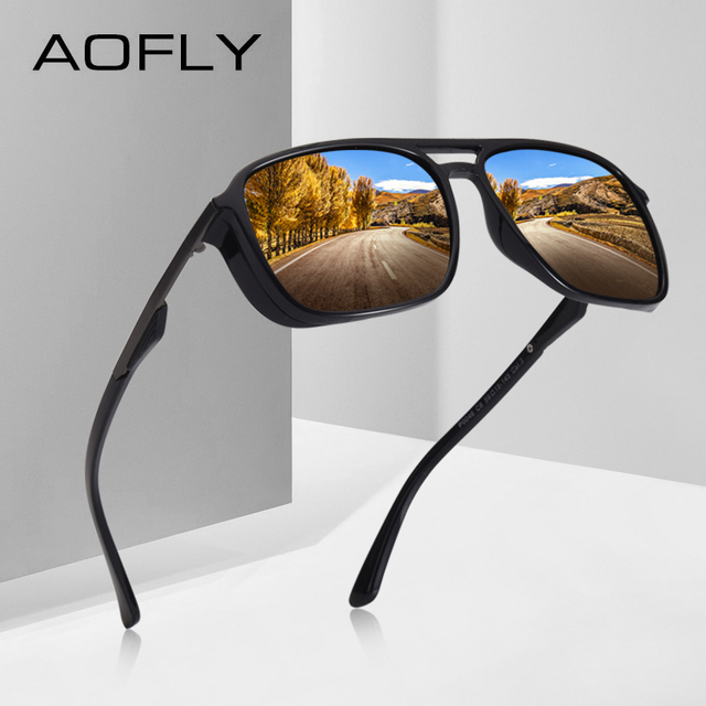 AOFLY แว่นตากันแดดออกแบบแบรนด์ Polarized Men Punk VINTAGE แว่นตา Steampunk แว่นตากันแดดแว่นตา Gafas De SOL AF8114