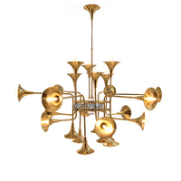 Nordic Golden Trumpet Droplight European Modern Dining Room Foyer Restaurant Cafes Pub Bar Coffee Shops Club Hotel Pendant Lamps