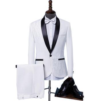 Singer stage men suit set with pants personality mens wedding suits new arrival slim formal dress men's groom suit + pant