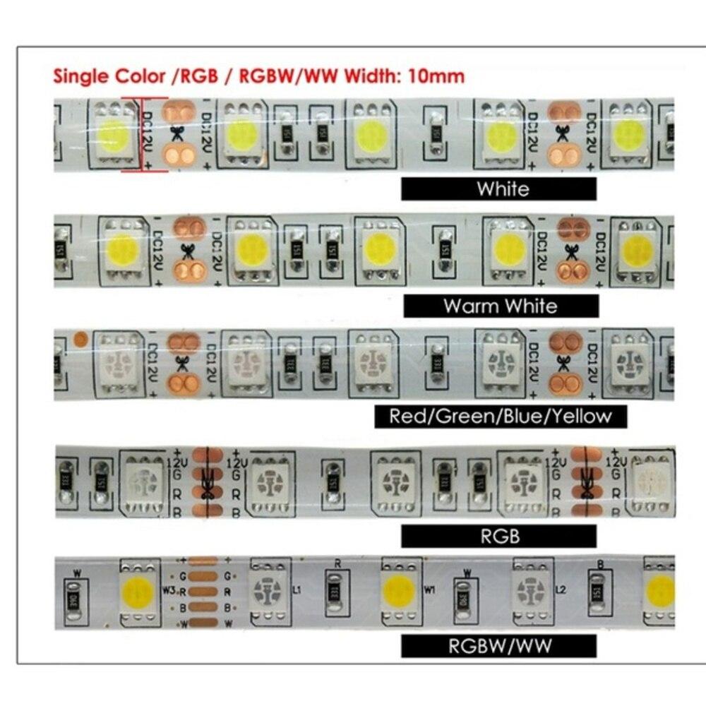 12 V Waterproof 5050 SMD LED Strip Light 5M 12V LEDStrip Tape Lamp RGB RGBW RGBWW Yellow Pink Ice Blue Diode Ribbon Fleible