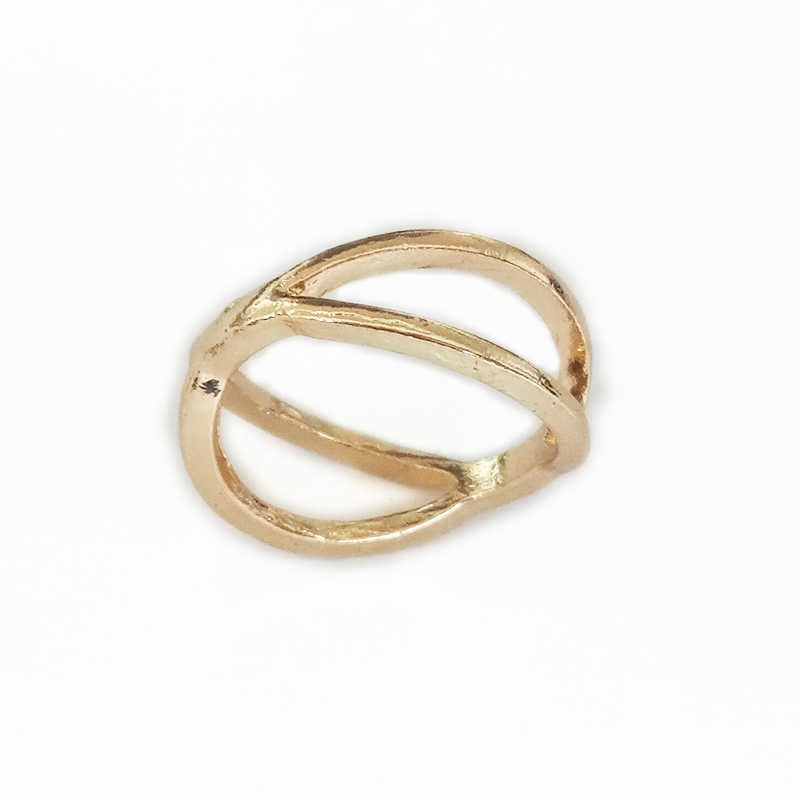 C427 Fashion Simple Finger Ring Female X Cross Three-dimensional Hollow Finger Rings For Women Charm Jewelry Birthday Gifts