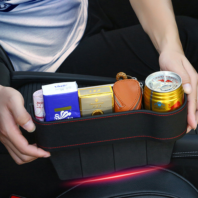 Image 2 - Tefanball Car Seat Crevice Storage Box Grain Organizer Gap Slit filler Holder Wallet Phone Coins Cigarette Pocket Accessories-in Stowing Tidying from Automobiles & Motorcycles