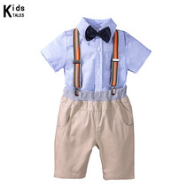 цена на Boys Clothes Summer Children Short Sleeve Bow Tie T-Shirt Pants Boys Gentleman Sets Kid Cotton Children Clothing for Babie