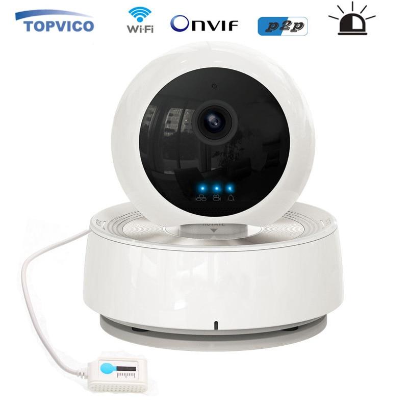 imágenes para Alarma PTZ IP Cámara Inalámbrica WIFI Pan Tilt Sensor de Humedad de Temperatura IR LED 720 p P2P Cámara CCTV Seguridad Para El Hogar cámara