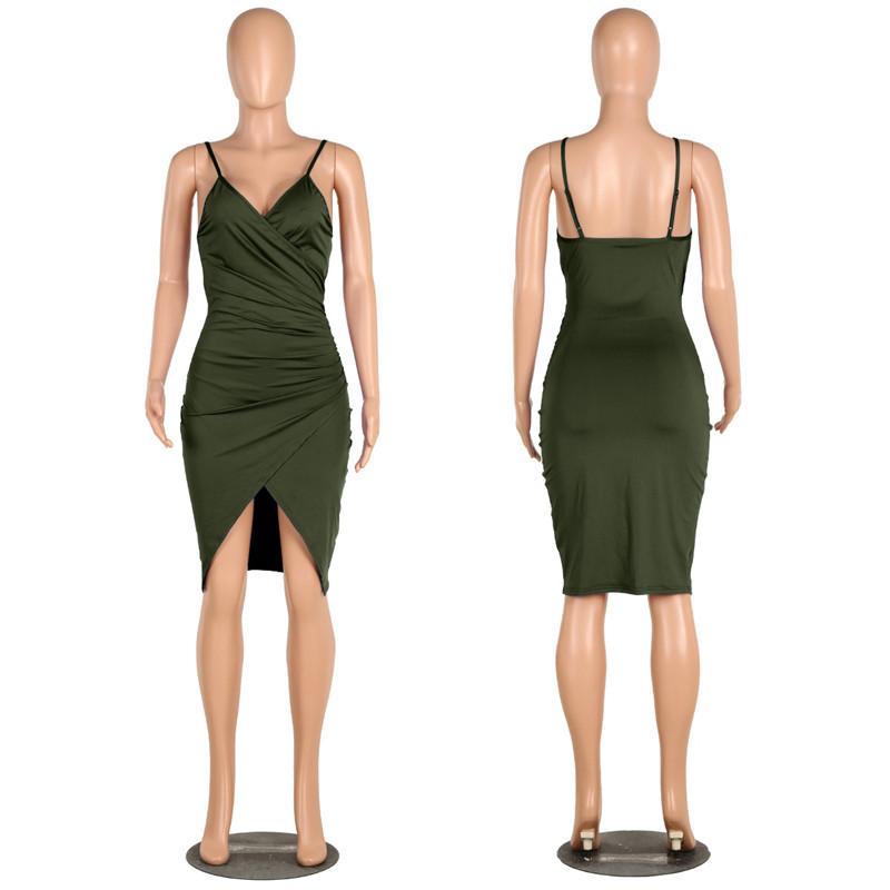 sexy deep v neck spaghetti strap dress-12
