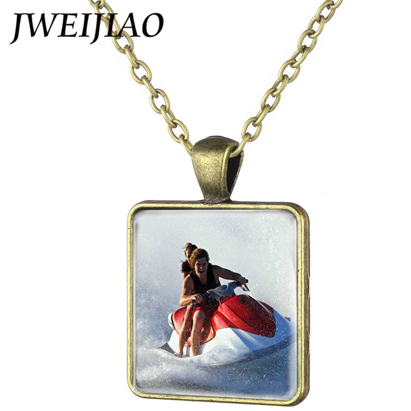 JWEIJIAO Water Sports Boat and Jet Ski Pendant Necklace Motocross Training Photos Square Pendant Antique Bronze Jewelry FQ45