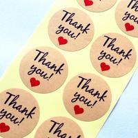 """100 pcs/lot Vintage """"danke"""" Herz Runde Kraft papier Dichtung aufkleber Für handgemachte produkte backen produkte abdichtung aufkleber Label"""