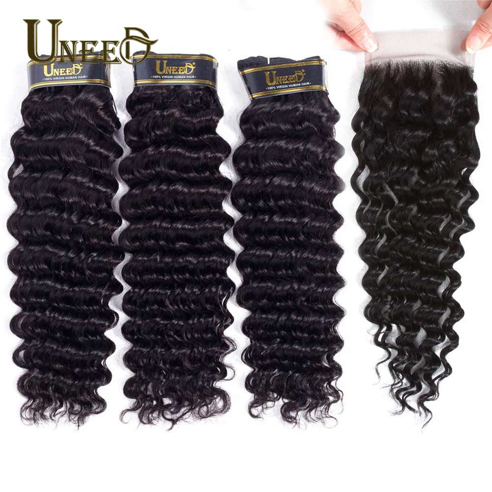 Uneed Hair Malaysian Deep Wave Bundles With Lace Closure Remy Human Hair Weave 3 4 Bundles