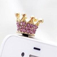 3.5mm Earphone Jack Dust Plug Rhinestones Crown Anti-dust Plug for Most Mobile Phone