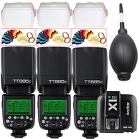 3x Godox tt685 tt685f Вспышка Speedlite TTL 2.4 г Беспроводной 1/8000 s + x1t f передатчик для Fuji X Pro1 /x pro2/x t10/x t20/x t1/X T2