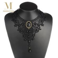1 шт. женское черное кружево и бусы колье Викторианский стимпанк стиль Готический воротник ожерелье подарок