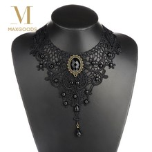 1PC Women Black Lace& Beads Choker Victorian Steampunk Style Gothic Collar Necklace Gift(China)