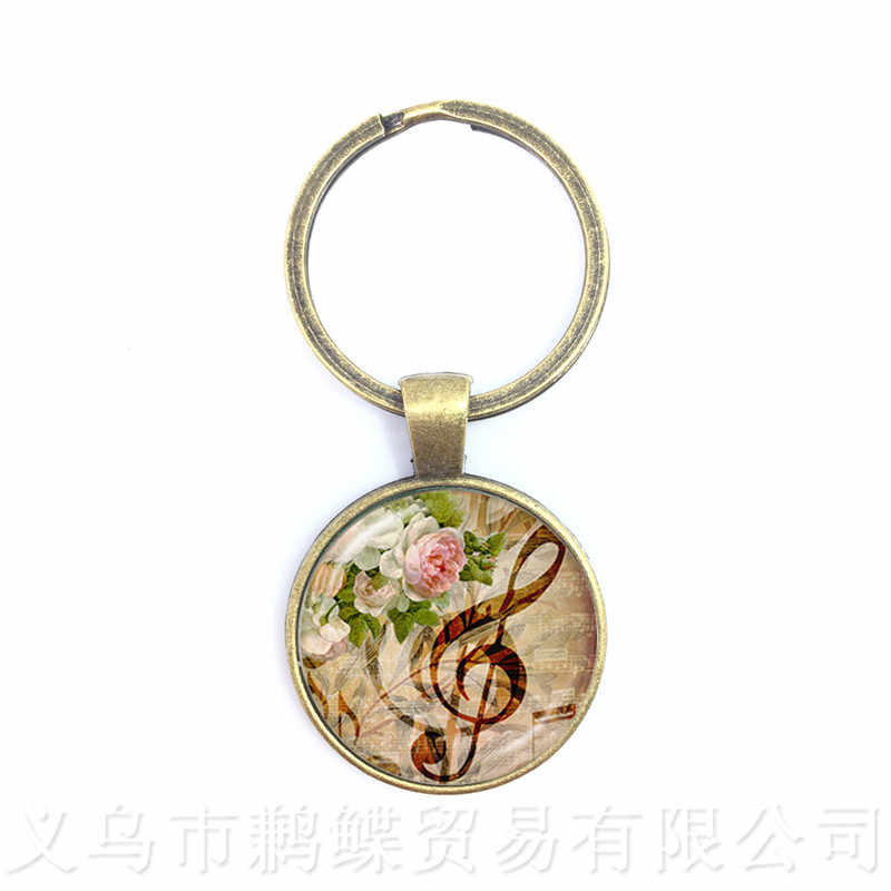 Music Note Art Picture Gem Glass Dome Keychains For Men Music Lover's Gift Keyring Souvenirs Gift Teacher's Day